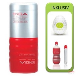 Tenga Double Hole Cup Value Pack (Cup + Hole Warmer + Egg Clicker)